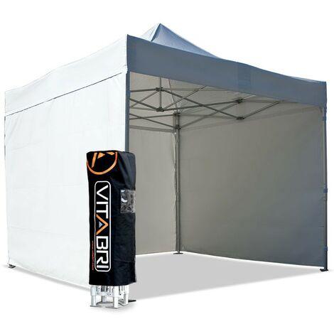 Tente pliante V3S5-Pro PVC 3x3m blanche Vitabri, Façade arrière 3m Sans, Façade avant 3m Sans, Façade de droite 3m Sans, Façade de gauche 3m Sans