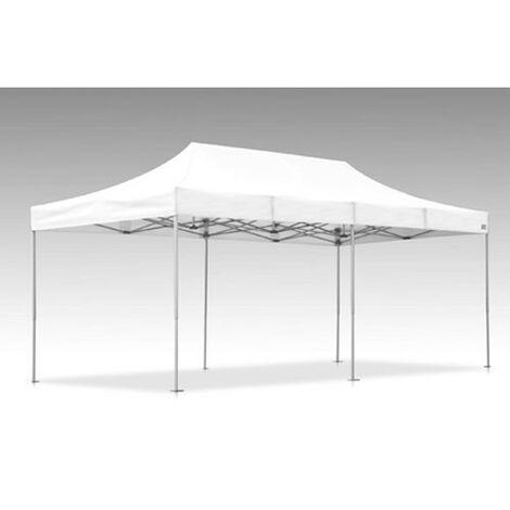 Tente pliante V3S5-Pro PVC blanc - 3 x 6m, Façade de droite 3m Sans, Façade arrière 6m Sans, Façade avant 6m Sans, Façade de gauche 3m Sans