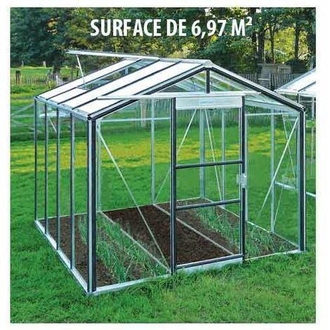 Serre en verre trempé Royal 24 - 6,97 m², Couleur Silver, Filet ombrage non, Ouverture auto Oui, Porte moustiquaire Non