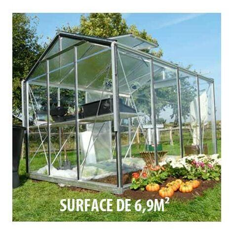 Serre en verre trempé Royal 33 - 6.90 m², Couleur Silver, Ouverture auto Non, Porte moustiquaire Non