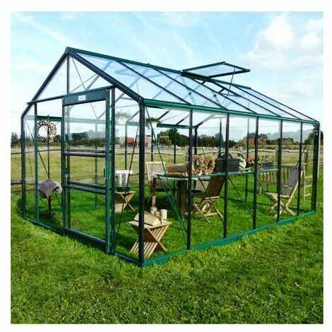 Serre en verre trempé Royal 36 - 13.69 m², Couleur Silver, Filet ombrage non, Ouverture auto Non, Porte moustiquaire Non