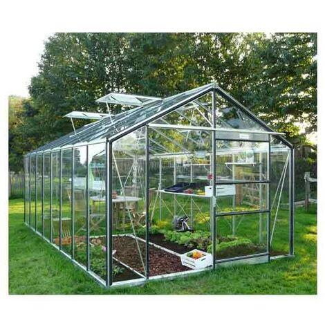 Serre de jardin en verre trempé Royal 38 - 18,24 m², Couleur Silver, Filet ombrage non, Ouverture auto Non, Porte moustiquaire Non