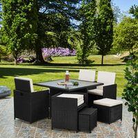 Deluxe 9 Piece 8 Seater Rattan Dining Garden Furniture Patio Set - Black