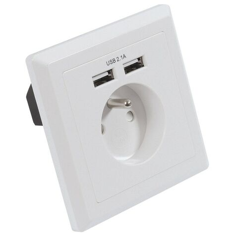 Prise encastrable 16A T + 2 chargeurs USB Blanc - Blanc
