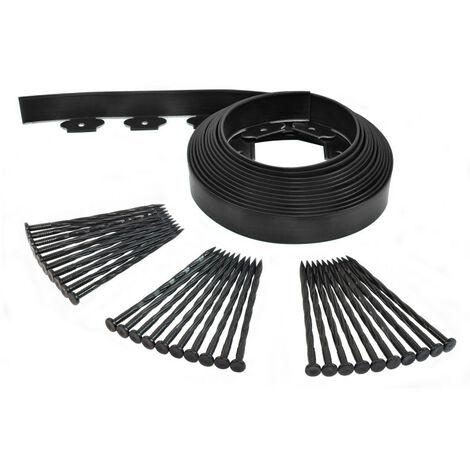 Bordurette de jardin flexible 10M - Hauteur 5 CM + 30 piquets Noir - Noir