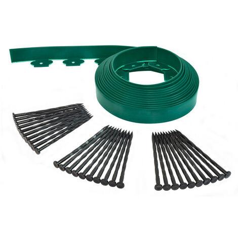 Bordurette de jardin flexible 10M - Hauteur 5 CM + 30 piquets Vert Fonce - Vert Fonce