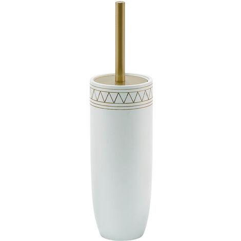 Aztec Toilet Brush & Holder/Satin Gold