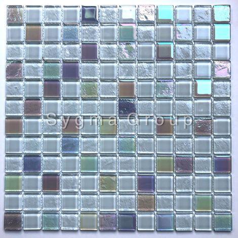 Malla mosaico de azulejos de vidrio blanco para el baño o la cocina Habay Blanc