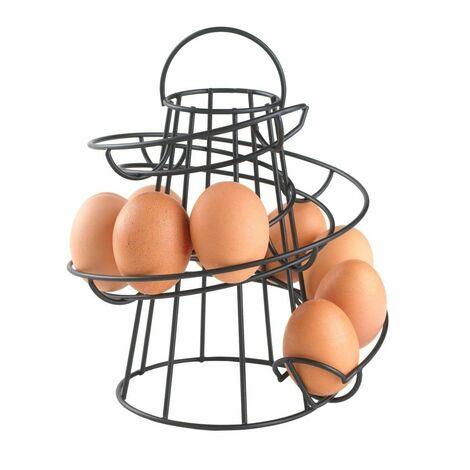 Neo Black Kitchen Spiral Egg Holder - Holds up to 18 Eggs