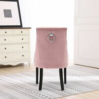 Neo 2x Pink Studded Velvet Dining Chair with Ring Knocker Detail
