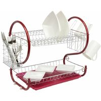 Neo Red 2 Tier Chrome Plate Dish Drainer
