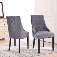 Neo 2x Dark Grey Studded Velvet Dining Chair with Ring Knocker Detail