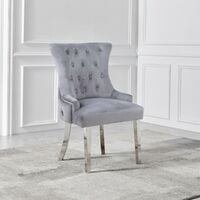 2x Grey Studded and Tufted Velvet Dining Chair with Mirrored Legs