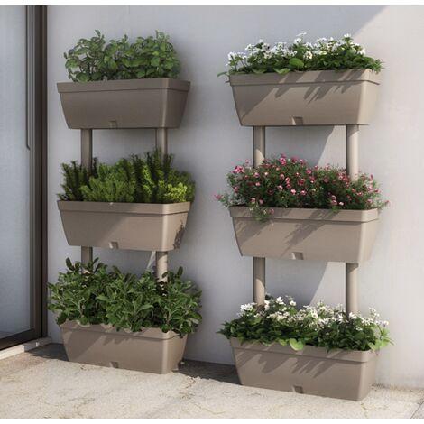 Fioriera da giardino kit 3pz tortora 50x17x100hcm