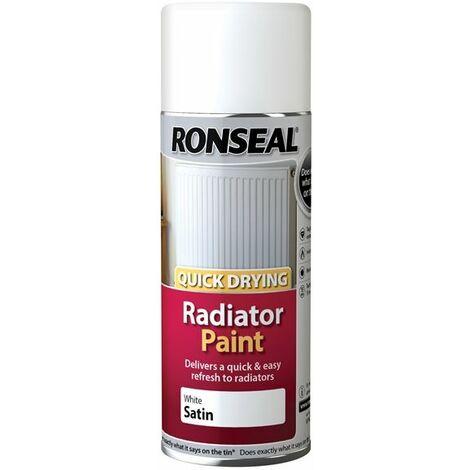 One Coat Radiator Spray Paint Satin White 400ml RSLQDRSWS400