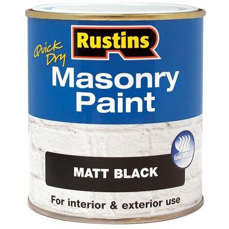 Quick Dry Masonry Paint Black 250ml RUSMASPB250