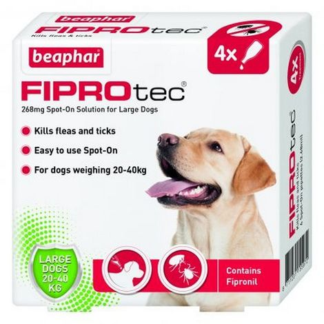 Beaphar Fiprotec Spot On Large Dog 268mg (4 Pipettes) x 1 (260706)