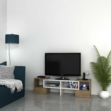 Mobile Porta Tv Fold Moderno Con Ripiani Da Salotto Noce Bianco In Legno 141 2 X 29 7 X 38 8 Cm
