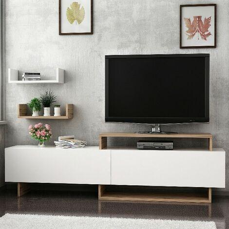 Mobile Porta Tv Zera Moderno Con Ante Mensole Ripiani Da Salotto Noce Bianco In Legno 180 X 30 X 48 Cm