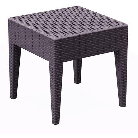 resol mesa auxiliar cuadrada 45x45 de jardín exterior Ipanema - color chocolate