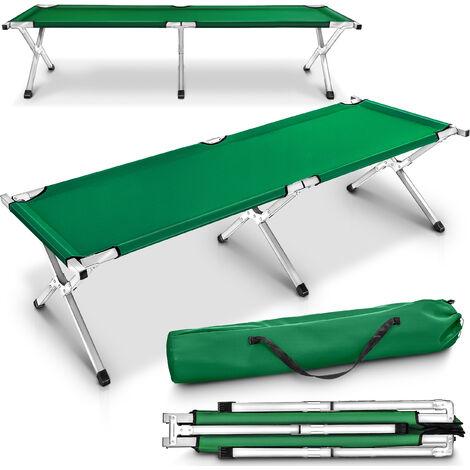 TRESKO® XL Feldbett 190cm Grün Campingbett Bett Liege Gästebett Klappbett 150kg Schwarz + Tasche
