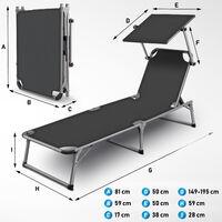 tillvex® Sonnenliege mit Dach grau | Gartenliege klappbar | Liegestuhl mit 6-fach verstellbarer Rückenlehne und Tragegriff