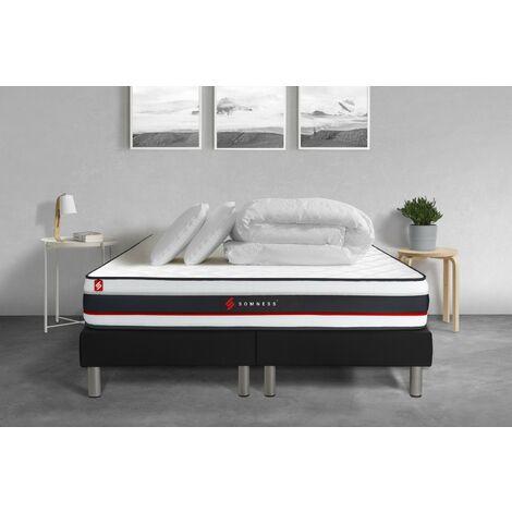 Pack double sommier 80x200 + matelas FORM 160x200 + 2 oreillers mémoire de forme + Couette Percale