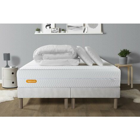 PACK Matelas 160x200 + double sommiers 80x200 Memo Bio Mousse à mémoire de forme 5 zones de confort Maxi épaisseur