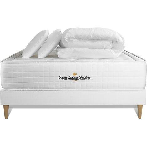 Pack matelas à mémoire de forme maxi épaisseur Buckingham 140x200cm sommier KIT blanc + 2 oreillers + 1 couette 240x220cm