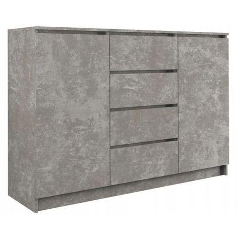 PARME - Commode de salon - 2 portes + 4 triroirs - 120x40x97 - Buffet style scandinave - Meuble de rangement - Imitation béton - béton