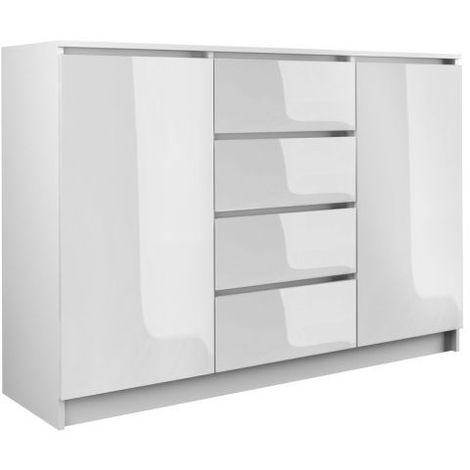 PARME | Commode contemporaine 2 portes & 4 triroirs chambre/salon/bureau 40x120x97 | Buffet Scandinave | Meuble de rangement - blanc lustre