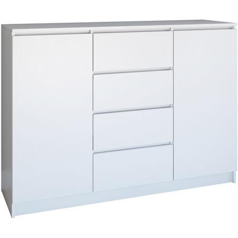 PARME - Commode de salon - 2 portes + 4 triroirs - 120x40x97 - Buffet style scandinave - Meuble de rangement - blanc le mat