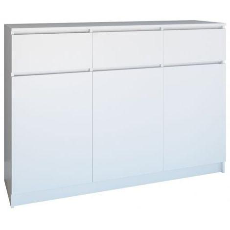 PARME | Commode contemporaine 3 portes & 3 triroirs chambre/salon/bureau | Buffet Scandinave | Meuble de rangement en mélaminé - blanc