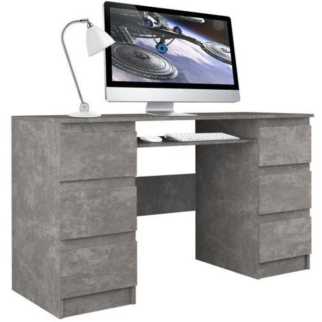 BARI - Bureau informatique - Bureau d'ordinateur - 6 Tiroirs + Support clavier coulissant - Mobilier de bureau - Imitation béton - beton