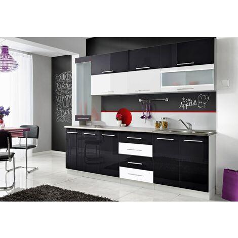 COVE S - Cuisine Complète L 260 cm 8pcs  + Plan de travail INCLUS - Ensemble cuisine tendance - Armoires cuisine linéaire - Noir/Blanc
