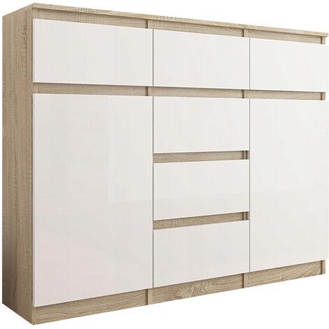 MONACO S2 - Commode contemporaine 120x40x98 - Meuble rangement chambre/salon - 6 tiroirs 2 portes - Style Gloss - Buffet séjour - Sonoma/Blanc Gloss