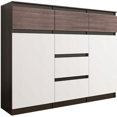MONACO 3W - Commode contemporaine chambre/salon - 120x40x98 cm - 6 tiroirs 2 portes - Meuble Finition Gloss - Buffet séjour - Wenge Gloss/Blanc
