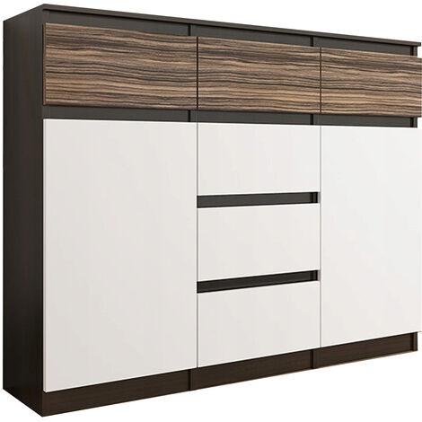 MONACO 3W - Commode contemporaine meuble rangement chambre/salon - 120x40x98 - 6 tiroirs 2 portes - Finition Gloss - Buffet séjour - Wenge/Blanc/Zebrano