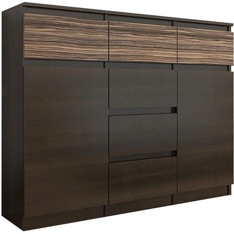 MONACO 1W - Commode contemporaine 120x40x98 - 6 tiroirs 2 portes - Meuble rangement chambre/salon design tendance - Buffet - Wenge/Zebrano