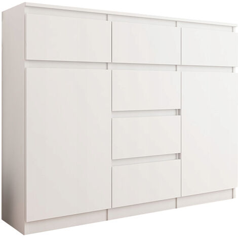 MONACO W1 - Commode Mobilier rangement chambre/salon/bureau - 120x40x98 cm - 6 tiroirs 2 portes - Finition Laquée - Buffet séjour - Blanc Gloss