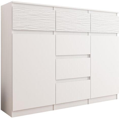 MONACO W1 - Commode contemporaine meuble chambre/salon - 120x40x98 - 6 tiroirs 2 portes - Dressing Finition Gloss - Buffet séjour - Blanc