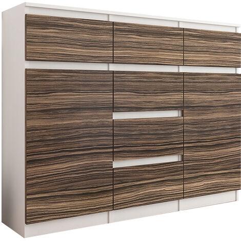 MONACO W2 - Commode contemporaine meuble rangement chambre - 120x40x98 - 6 tiroirs - Finition Gloss - Buffet salon séjour - Blanc/Zebrano