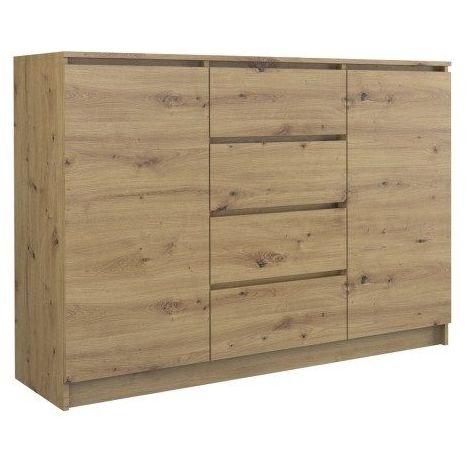 PARME - Commode de salon - 2 portes + 4 triroirs - 120x40x97 - Buffet style scandinave - Meuble de rangement - Aspect bois - Chêne Artisan