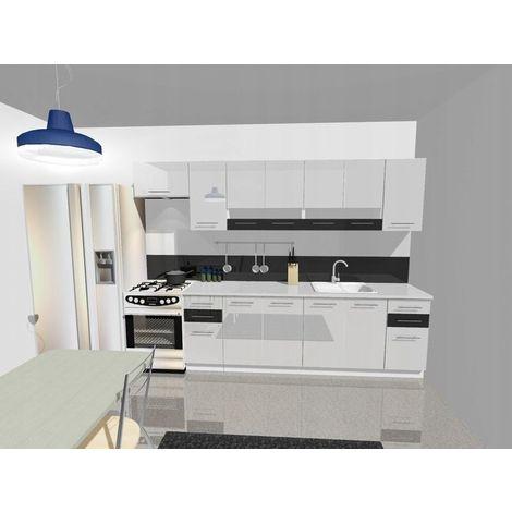 KING - Cuisine Complète Linéaire L 300cm 9pcs - Plan de travail INCLUS - Meubles ensemble cuisine moderne - Portes vitrées - Blanc/Noir