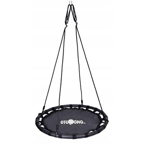 AIROXO - Balançoire nid d'oiseau rond enfant/adulte diamètre 100cm - Suspension balançoire filet intérieur/extérieur jardin 100kg - Noir