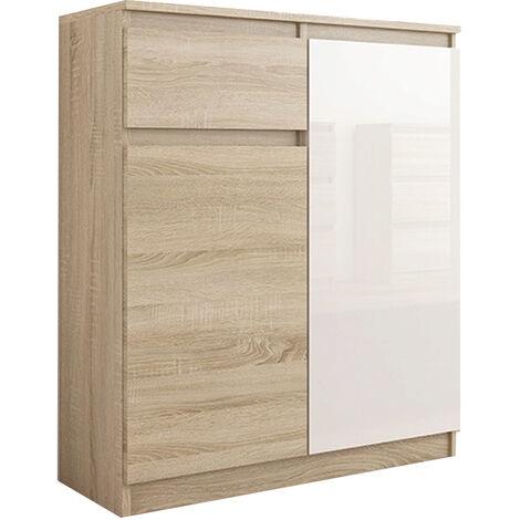 MOSCOW S1 | Buffet moderne salle à manger 98x80x40 cm | Commode contemporaine chambre salon bureau | Meuble de rangement - Sonoma/Blanc Laqué