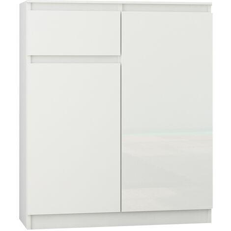 MOSCOW W1   Buffet moderne salle à manger 98x80x40 cm   Commode contemporaine chambre salon bureau   Meuble de rangement - Blanc/Blanc Laqué