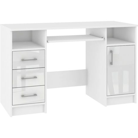 KAMA | Bureau informatique moderne 124x74x52 cm | 3 tiroirs + support clavier + niches | Table ordinateur/Mobilier bureau - Blanc laqué