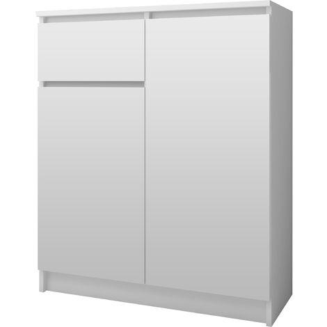 ELLIS - Buffet contemporaine salon/séjour/salle à manger 99x80x40 cm - 1 tiroir + 2 portes - Meuble/Commode design moderne - Blanc