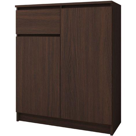 ELLIS - Buffet contemporaine salon/séjour/salle à manger 99x80x40 cm - 1 tiroir + 2 portes - Meuble/Commode design moderne - Wenge